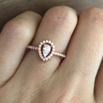 Small Rose Gold Promise Ring- Pear Shape Engagement Ring- Halo Wedding Ring for Her- Dainty Tiny Cubic Zirconia Ring