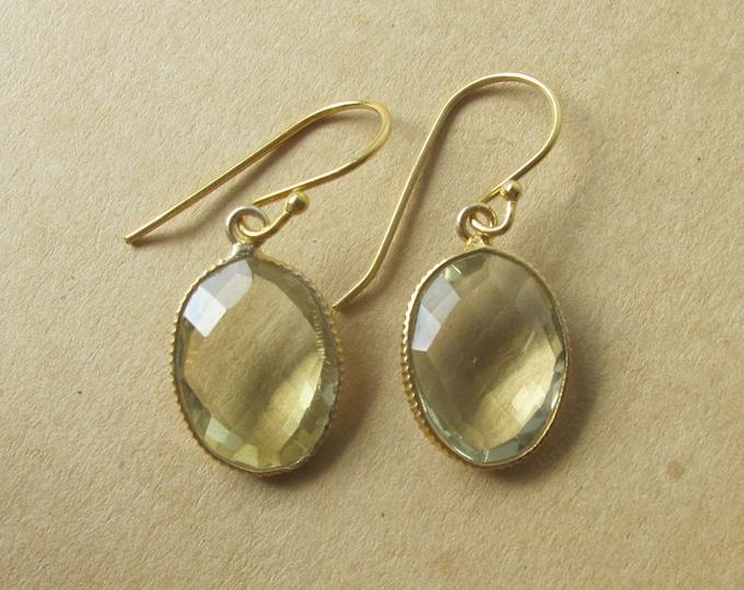 Oval Green Amethyst Dangle Earring- Simple Light Green Gemstone Drop Earring- February Birthstone Earrings-