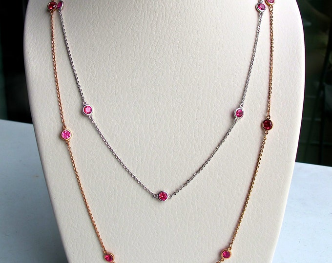 Ruby Silver Chain Necklace- Necklace by the Yard- Layering Strand Necklace- July Birthstone Necklace