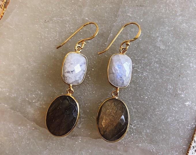Bohemian Raw Moonstone Labradorite Dangle Earring- Two Stone Long Drop Earring- Boho Gemstone Jewelry for Her- Handmade Raw Earring