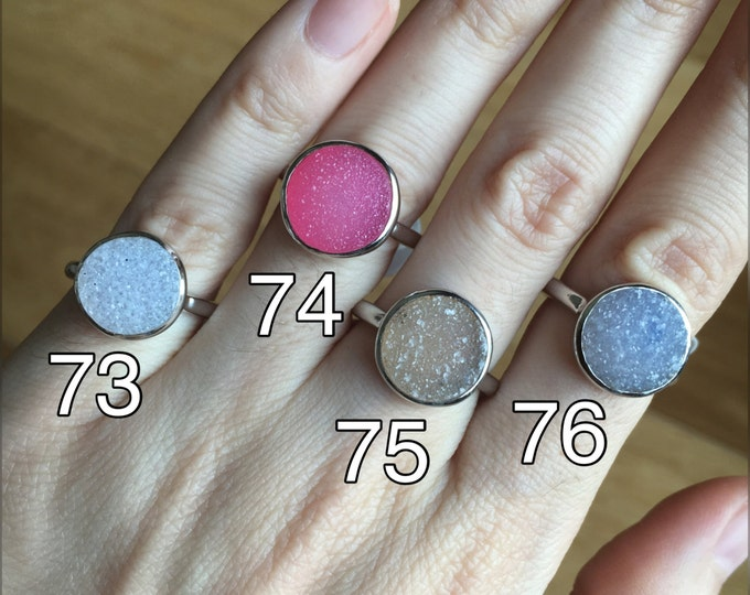 Druzy Raw Round Ring Rough Stone Ring- Raw Crystal Ring Raw Jewelry Custom Sizing Size 9 Size 10