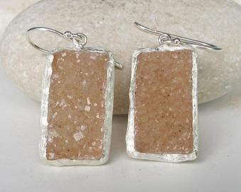 Beige Druzy Statement Earring- Rough Stone Dangle Earring- Rectangle Gemstone Boho Earring- Handmade Bold Earring- Raw Crystal Earring