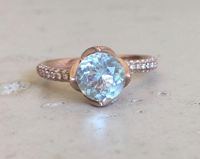 Genuine Natural Aquamarine Engagement Ring Floral Blue Aquamarine Promise Ring Rose Gold Bridal Ring Round Aquamarine Diamond Ring