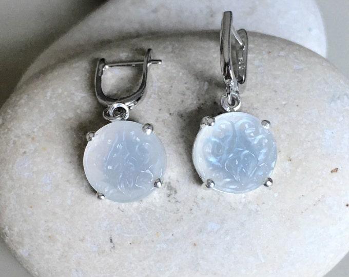 Round Moonstone Bridal Earring- Wedding Statement Silver Earring- June Birthstone Earring- White Moonstone Earring- Boho Chic Earrings