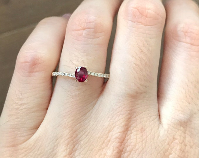 Ruby Genuine Engagement Ring- Dainty Ruby Promise Ring- Ruby Anniversary Ring- Simple Ruby Unheat Bypass Ring- White Gold Ruby Diamond Ring