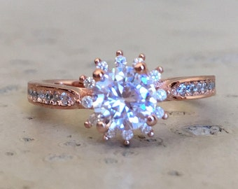 Rose Gold Promise Ring- Flower Engagement Ring- Halo Bridal Ring- Unique Wedding Floral Ring