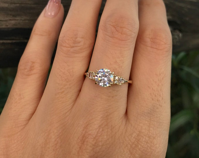 Simulant Diamond Vintage Engagement- 1ct Round Brilliant Yellow Gold Ring- Deco Promise Ring for Her- Non Diamond Alternative Colorless Ring