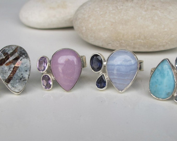 Unique Multistone Statement Ring- Aquamarine Turquoise Amethyst Ring- Double Colorful Gemstone Ring- Cluster Stone Solitaire Ring