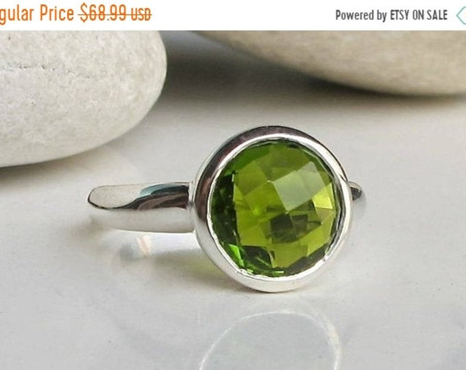40% OFF SALE Peridot Ring Round Stack Simple Minimal