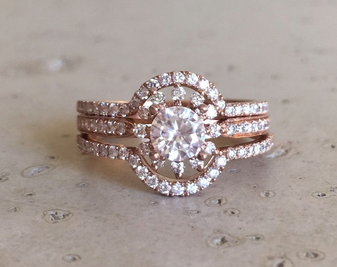 White Sapphire Engagement Ring Set- Halo Sapphire Rose Gold Bridal Ring Set- 14k Floral Engagement Ring- Sapphire Bridal Set Wedding Rings