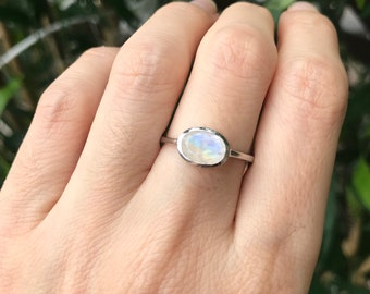 Rainbow Moonstone Petite Oval Stack Ring in Sterling Silver