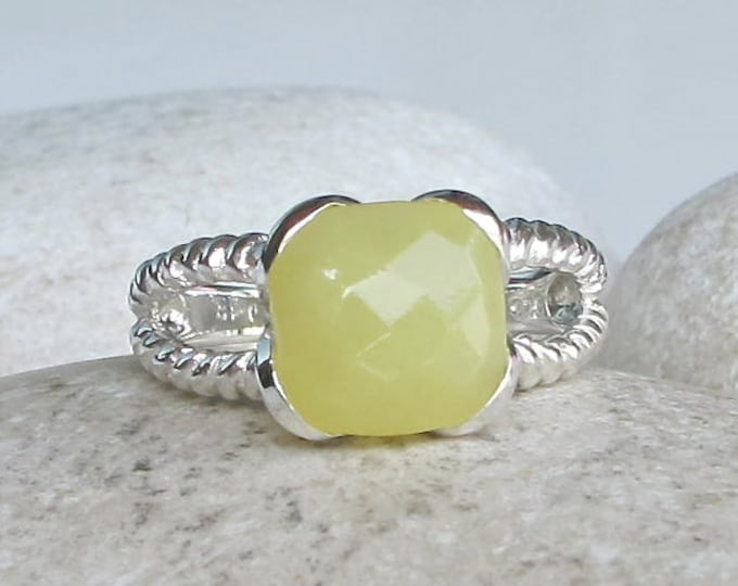 Square Yellow Statement Ring- Yellow Gemstone Solitaire Ring- Double Band Stone Ring- Unique Yellow Rope Ring- Sterling Silver Split Band