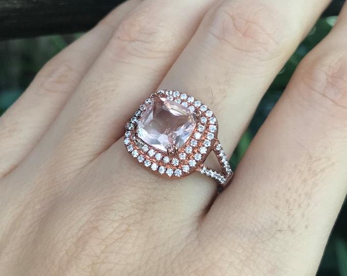 Genuine Morganite Halo Engagement Ring- 1.60ct Square Morganite Split Double Ring- Large Pink Gemstone Promise Ring- Cushion Morganite Ring-