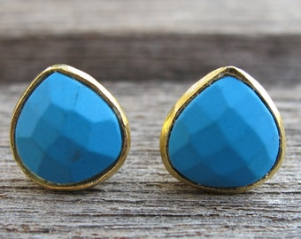 Boho Turquoise Stud Earring- Pear Shape Blue Earring- December Birthstone Stud- Classic Rustic Earring- Simple Blue Stud- Bohemian Earring