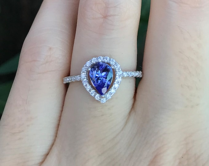 Genuine Tanzanite Teardrop Halo Engagement Ring- Natural Tanzanite Pear Shape Ring- Blue Purple Stone Promise Ring-December Birthstone Ring