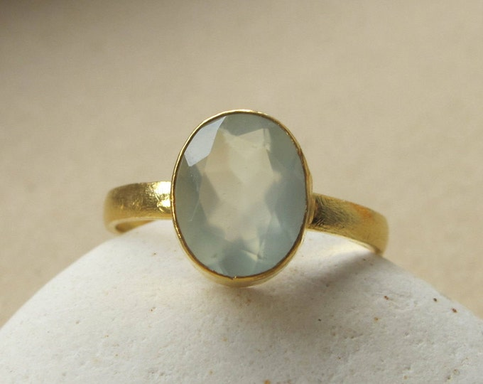Oval Blue Chalcedony Stack Ring