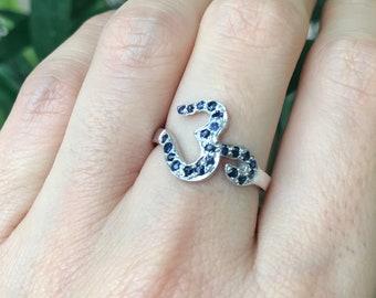 Meditation Om Ring- Spiritual Gemstone Ring- Sapphire Ruby Yoga Jewelry- Zen Statement Word Ring