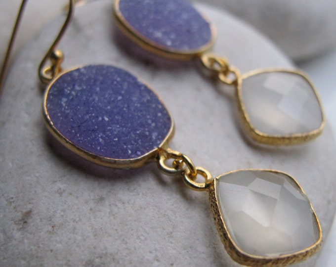Blue Druzy Moonstone Mix Dangle Earring- Long Drop Gemstone Gold Earring