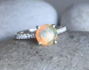Round Opal Engagement Ring- Simple Opal Promise Ring- Genuine Opal Solitaire Ring- October Birthstone Ring- Bohemian Rainbow Ring