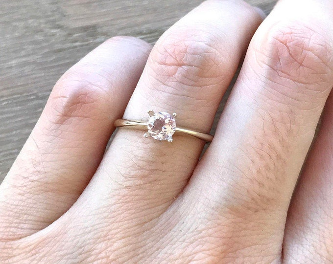 Simple Morganite Promise Ring- Small Morganite Engagement Ring- 18k Yellow Gold Morganite Ring- Round Morganite Ring- Pink Gemstone Ring