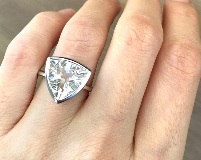 5ct Triangle White Topaz Engagement Ring- Trillion Solitaire Promise Ring- Colorless Large Statement Ring- Modern Minimalist Simple Ring