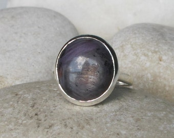 Gray Sapphire Raw Ring- Large Oval Solitaire Ring- Simple Gray Minimal Ring- September Ring- Rough Stone Statement Ring- Raw Unisex Men Ring
