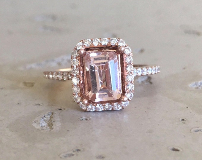 Morganite Engagement Ring Rose Gold Emerald Shape Pink Morganite Rectangle Wedding Anniversary Morganite Ring Promise Ring Morganite Halo