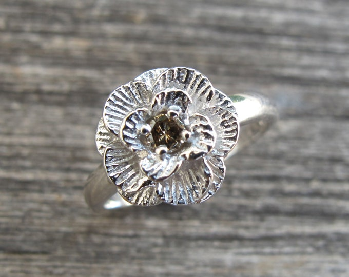 Flower Diamond Promise Ring- Champagne Diamond Engagement Ring- Floral Wedding Ring- Stackable Diamond Ring- April Birthstone Ring