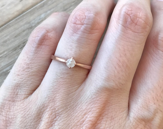 Rose Gold Dainty Engagement Ring- Rose Cut Gray Diamond Ring- Raw Diamond Promise Ring Stackable- Rough Diamond Raw April Birthstone