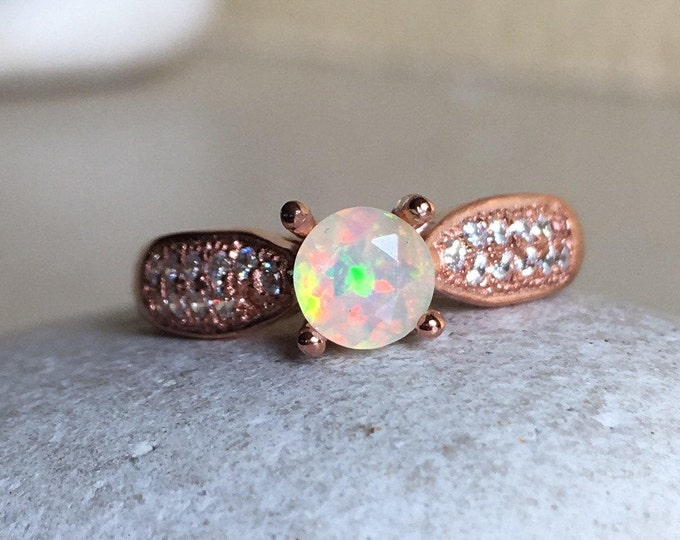 Rose Gold Opal Engagement- 4 Prong Opal Promise Ring- October Birthstone Ring- Opal Anniversary Ring- Solitaire Round Opal Ring