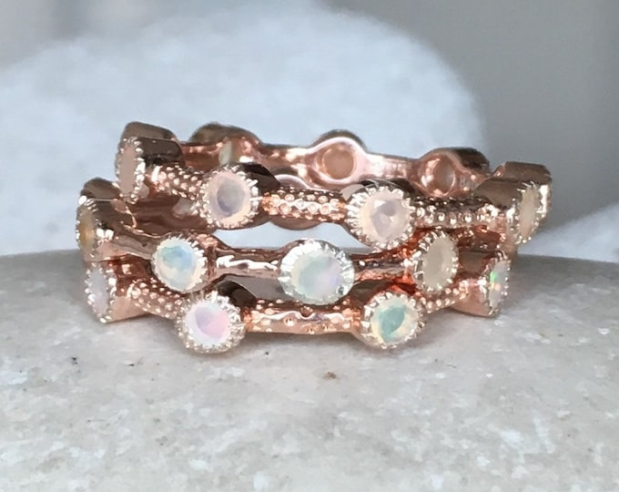 Rose Gold Opal Wedding Band- Opal Eternity Rose Gold Band- October Birthstone Band- Opal Stackable Band Ring- Statement Opal Bubble Band