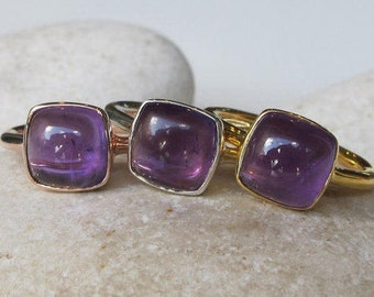 Amethyst Rose Gold Ring Natural Square Purple Amethyst Gold Ring Silver Simple Stack Minimal February Birthstone Genuine Amethyst All Sizes