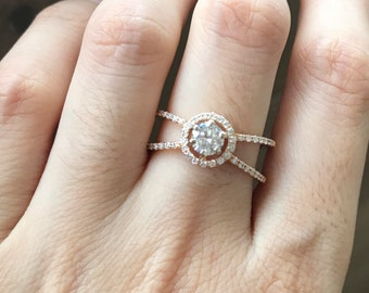 Moissanite Engagement Ring Rose Gold Alternative Diamond Engagement Ring- Art Deco Double Band Vintage Inspired Colorless Round Ring