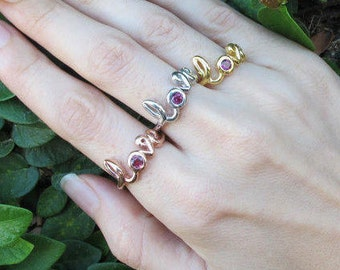 Garnet Ring Love Ring Rose Gold Red Gemstone January Birthtone Sterling Silver Gold Valentine Day Gift for Her Gift For Wife Mom Girlfriend