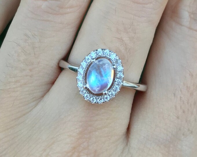 0.50ct Moonstone Halo Oval Engagement Ring- Rainbow Moonstone Promise Ring for Her- Cab Moonstone Solitaire Ring- June Birthstone Ring