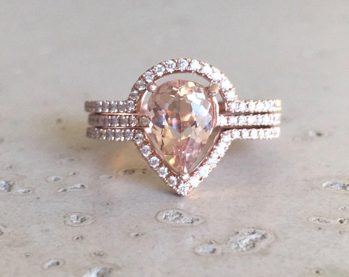 Rose Gold Morganite Engagement Ring Set- 1ct Pear Morganite Diamond Halo Ring- Morganite Gold White Gold Bridal Wedding Set with 2 Bands