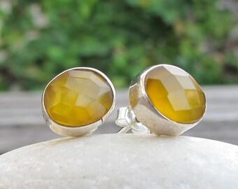 Yellow Onyx Earring- Oval Citrine Earring- Yellow Topaz Earring- Yellow Chalcedony Earring- Simple Yellow Earring- Yellow Quartz Earring