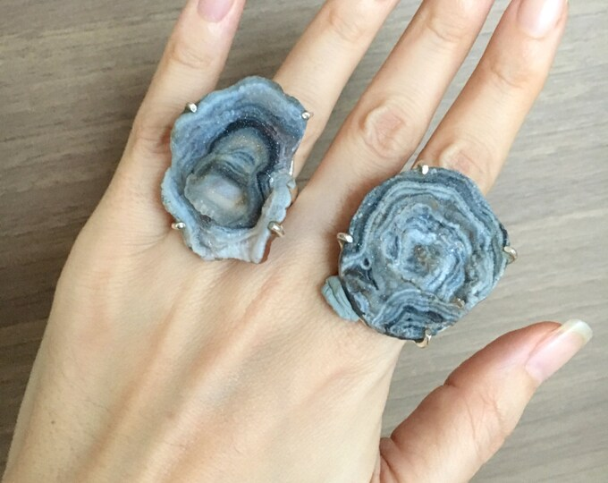 Geode Druzy Statement Ring- Raw Rock Silver Ring- Large Raw Crystal Ring- Rustic Geode Ring- Boho Statement Ring- Rough Gemstone Large Ring
