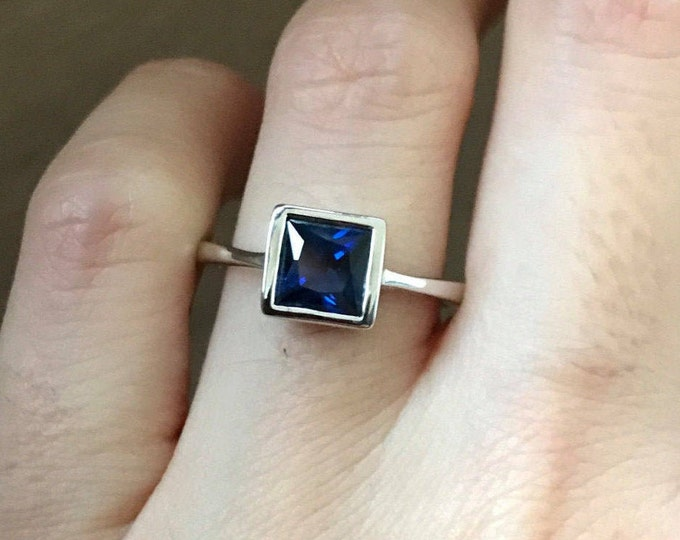 Princess Sapphire Engagement Ring- Simple Sapphire Promise Ring- Stackable September Birthstone Ring- Blue Gemstone Anniversary Ring