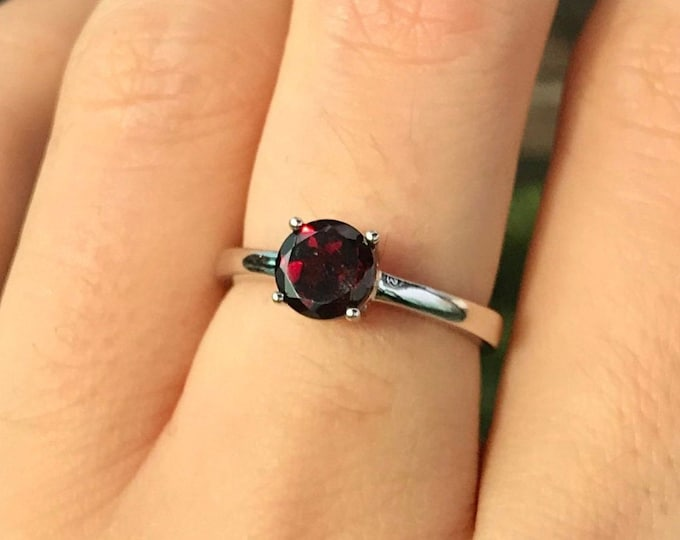 Genuine Garnet Round Small Ring- Stackable Dark Red Garnet Prong Ring- Janauary Birthstone Ring- Red Gemstone Ring- Garnet Silver Ring