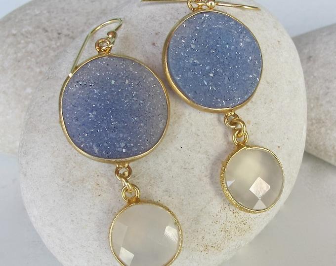 Druzy Earring- Blue Earring- Topaz Earring- Something Blue- Moonstone Earring- Statement Earring- Gemstone Earrings- OOAK Earrings
