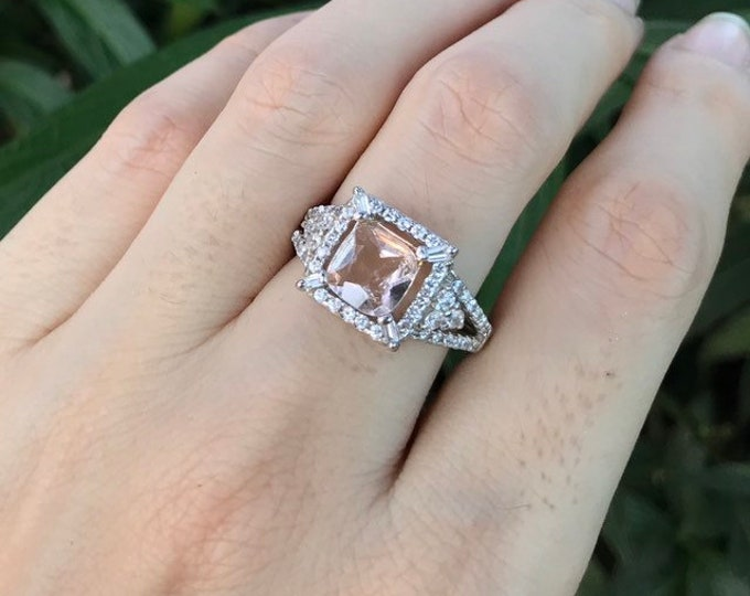 1.40ct Morganite Vintage Deco Engagement Women Ring- Morganite Cushion Halo Promise Ring For Her- Rose Gold Morganite Anniversary Ring