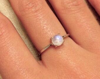 Blue Moonstone Ring Tiny Dainty Silver Ring Boho