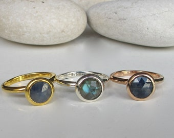 Stackable Statement Ring- Unique Gemstone Ring Set- Round Sterling Silver Ring- Jewelry Gifts for Her
