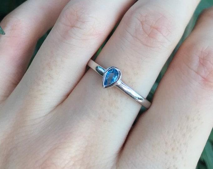 Swiss Blue Topaz Dainty Ring- Blue Topaz Teardrop Simple Ring for Teen Child- Blue Minimalist Silver Ring December Birthstone Ring
