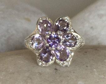 Cluster Amethsyt Engagement Ring Floral Purple Amethyst February Birthstone Flower Deco Mulitstone Vintage Inspired