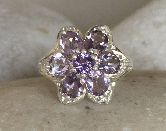 Cluster Amethyst Engagement Ring- Floral Purple Amethyst Solitaire Ring- February Birthstone Ring- Flower Mulitstone Vintage Statement Ring