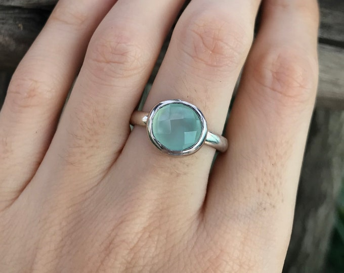 Stackable Blue Chalcedony Round Silver Ring- Blue Gemstone Bezel Faceted Ring- Aqua Blue Stone Simple Stone Ring-Something Blue Minimal Ring