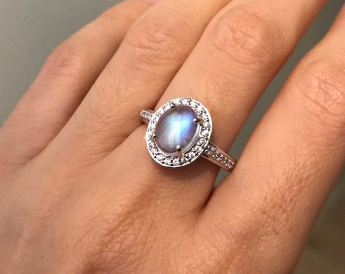 Oval Halo Moonstone Engagement Ring- Rainbow Moonstone Promise Ring- Large Rainbow Solitaire Ring-Anniversary Ring