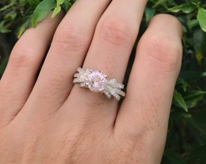 Morganite Vintage Engagement Ring- Round Morganite Art Deco Engagement Ring- Pink Gemstone Engagement Ring- Statement Solitaire Ring